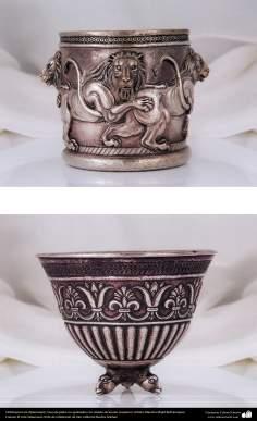 Ourivesaria iraniana (Qalamzani), Vaso de prata com gravura de leões (superior). Artista: Mestre Majid Bahramipour - 196