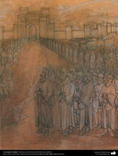 La conquista de Babel, Miniatura de Ostad Hosein Behzad, Museo Behzad -196