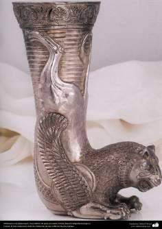 Ourivesaria iraniana (Qalamzani), Ríton de prata esculpida. Artista: Mestre Majid Bahramipour - 198