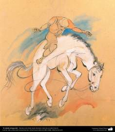 El caballo enloquecido, Miniatura de Ostad Hosein Behzad, Colección privada Teherán -198