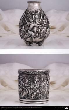 Ourivesaria iraniana (Qalamzani), Vaso de prata com gravura esculpida. Artista: Mestre Majid Bahramipour - 200