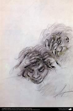 """""""A idade da tristeza"""" - Miniatura do Ostad Hossein Behzad, Museu Behzad, - 208"""