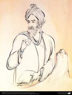 """""""Ferdusi"""" - Miniatura do Ostad Hossein Behzad, Coleção privada de Teerã, 1963 - 209"""