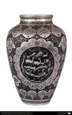 Iranian art (Qalamzani), The carved silver jug. Artist: Master N. Mohazed -218