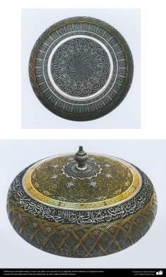 Ourives iraniano (Qalamzani), tigela de prata com tampa de ouro e ornamentado com caligrafia - 30