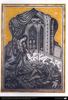 Ourivesaria iraniana (Qalamzani), quadro com gravura em prata e ouro. Artista: Maestro H. Alaghemandan - 33