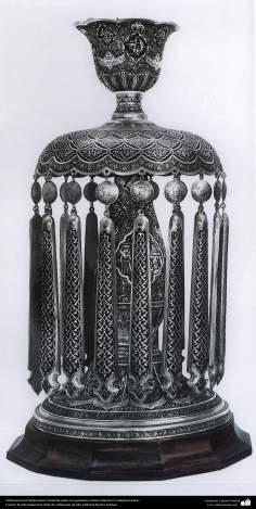 Ourivesaria iraniana (Qalamzani), abajur de prata com gravura - 39