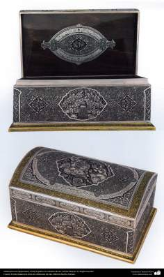 Iranian art (Qalamzani), Engraved box with silver -41