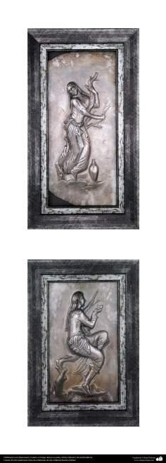 """Иранское искусство - Гравировка металла, """"Галам Зани"""" (тиснение) - Серебряная рамка - 62"""