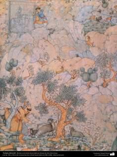 Farhad y Chirin (3), Miniatura de Ostad Hosein Behzad, Museo de artes decorativas -73