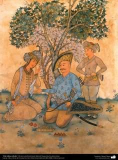 """""""Shah Abbas safávida"""" - Miniatura de Ostad Hossein Behzad, Museu de artes decorativas - 77"""