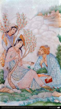 Persian Miniature, We don't need anything because of our darling is here Work of Ostad Hosein Behzad -83