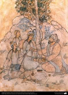 El viejo y los músicos, Miniatura de Ostad Hosein Behzad, Museo de artes decorativas -84