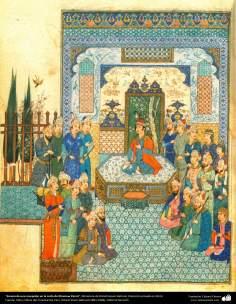 Escena de una recepción en la corte de Khosrow Parviz, Miniatura de Ostad Hosein Behzad, Colección privada en EEUU -86