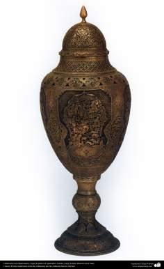 Orfebrería iraní (Qalamzani), Copa de plata con grabados, celosía y tapa, Artista: Maestro Amir Saee -87
