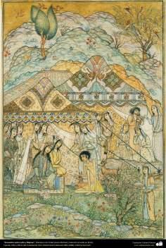 Islamic Art, Masterpieces of Persian Miniature, Artist: Ostad Hosein Behzad, Meeting between Leyli and Majnoon -87