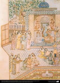 """""""Cena de regozijo na corte de Khosrow Parviz"""" - Miniatura de Ostad Hossein Behzad, Coleção privada nos EUA - 88"""
