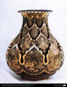 Iranian art (Qalamzani), Carved pot with gold and silver -89