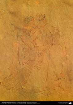 El anciano y la hormiga, Miniatura de Ostad Hosein Behzad, Colección privada en Paris -89