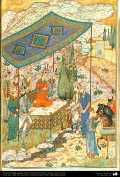 Khosrow Parviz y los viajeros, Miniatura de Ostad Hosein Behzad, Colección privada en EEUU -90