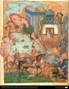 Khosrow Anouchiravan y el visir, Miniatura de Ostad Hosein Behzad, Colección privada en EEUU -91