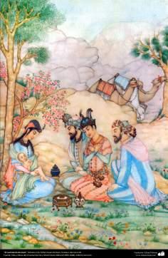 O nascimento de Jesus - Miniatura de Ostad Hossein Behzad, Paradeiro desconhecido - 96