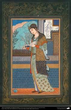 """""""Chirin contemplando uma imagem de Farhad"""" - Miniatura de Ostad Hossein Behzad. Museu de artes decorativas - 97"""