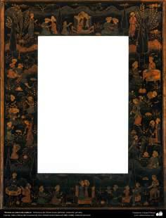 Pintura en marco de madera, Miniatura de Ostad Hosein Behzad, Colección privada -98