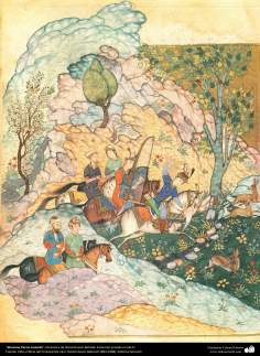 الفن الإسلامي - تحفة المنمنمات الفارسية - أستاذ حسين بهزاد - خسرو برويز الصيد - 99