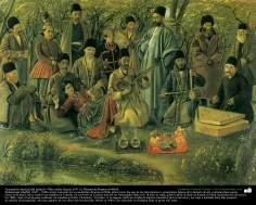 Actuación musical del palacio- Óleo sobre lienzo, (1911); Pintura de Kamal ol-Molk