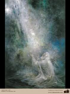 الفن الاسلامية - منمنمة الفارسی - الفنان : استاذ محمود فرشجيان – العبادة
