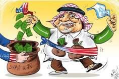 Caricatura - Alegria da Arábia Saudita, o ataque militar contra a Síria