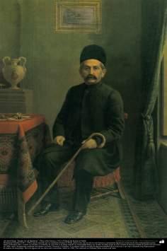 """Arte islamica-Pittura-Olio su tela-Opera di maestro Kamal ol-Molk,""""Ali Qoli Khan Sardar Asa'd Bakhtiari'-1911"""