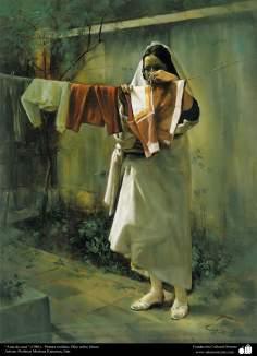 """""""Hausfrau"""" (1986) - Realistische Malerei; Oil auf Leinwand- Künstler: Prof. Morteza Katuzian - Islamische Kunst"""