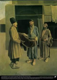 """""""Amu Sadeq Shirazi y el judío vendedor de antigüedades"""" (hecho hacia 1891) por Kamal ol-Molk"""