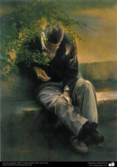 """Tired old man"" (2005) - Realistic Painting; Oil in Canvas- Artist: Prof. Morteza Katuzian"