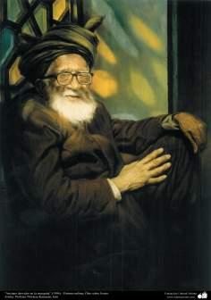 """Anciano derviche en la mezquita"" (1996) - Pintura realista; Óleo sobre lienzo- Artista: Profesor Morteza Katuzian, Irán"