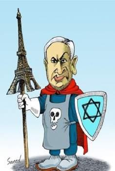 イラン核協議でフランスを支持しているネタニヤフ(漫画)