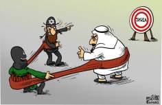 Arabia, Israel y Sirios, terroristas paralelismos (caricatura)