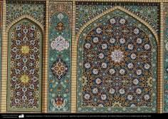 المعمارية الإسلامية - صور من النقش الهندسیة لحرم فاطمة المعصومة (س) في مدينة قم المقدسة - صحن امام رضا (ع)