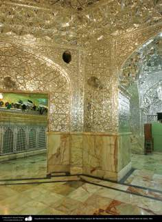 Islamic Architecture - View of the side of the hall of mirrors of the Shrine of Fatima Masuma in the holy city of Qom, Iran (10)