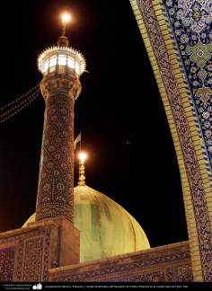 Islamic Architecture - Minaret and dome lighting of the Shrine of Fatima Masuma in the holy city of Qom