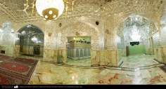 Architecture islamique -Une vue du salon avec des miroirs du sanctuaire de l'Imam Fatima Ma'soumeh -Qom-125
