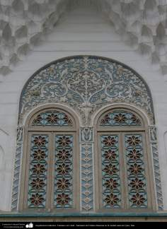 Islamic Architecture - Window with stained glass - Shrine of Fatima Masuma in the holy city of Qom