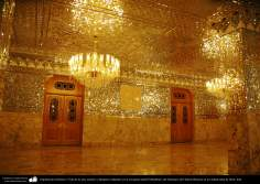 Islamic Architecture - The view of the room, mirrors and chandeliers in the mosque Mutahhari shahid, the Shrine of Fatima Masuma in the holy city of Qom (61)