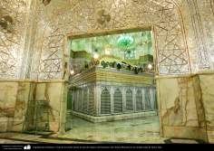 Islamic Architecture - View of the tomb from the hall of mirrors of the Shrine of Fatima Masuma in the holy city of Qom, Iran (12)