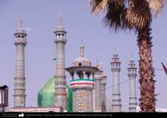 Architecture islamique - une vue sur le dôme et les minarets du sanctuaire de l'Imam Fatima Ma'soumeh - ville sainte de Qom -