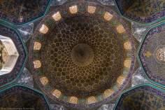 Исламская архитектура - Облицовка кафельной плиткой (Каши Кари) и внутренний фасад купола мечети Шейха Лютфуллы в Исфахане , Иран – 2