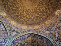 Islamic mosaics and decorative tile (Kashi Kari) - Internal view of the dome of the mosque Sheikh Lotf Allah (or Lotfollah) - Isfahan - (18)