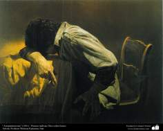 """Repentance"" (1981) - Realistic Painting; Oil on Canvas- Artist: Prof. Morteza Katuzian, Iran"